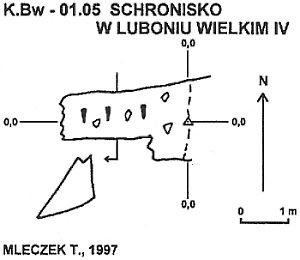 Plan jaskini w Luboniu Wielkim IV wg. Mleczka; źródło: http://adamv0.republika.pl/www/jk.bw.01.05.html